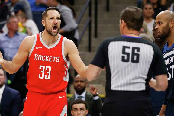 Houston Rockets forward Ryan Anderson (33) argues a call with referee Mark Ayotte (56) during the first half of Game 4 of the first round of the NBA Playoffs against the Minnesota Timberwolves at Target Center Monday, April 23, 2018 in Minneapolis.