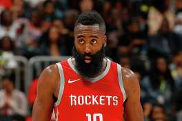 ATLANTA, GA - NOVEMBER 03:  James Harden #13 of the Houston Rockets looks on during the game against the Atlanta Hawks at Philips Arena on November 3, 2017 in Atlanta, Georgia.  NOTE TO USER: User expressly acknowledges and agrees that, by downloading and or using this photograph, User is consenting to the terms and conditions of the Getty Images License Agreement.  (Photo by Kevin C. Cox/Getty Images) ORG XMIT: 775026772