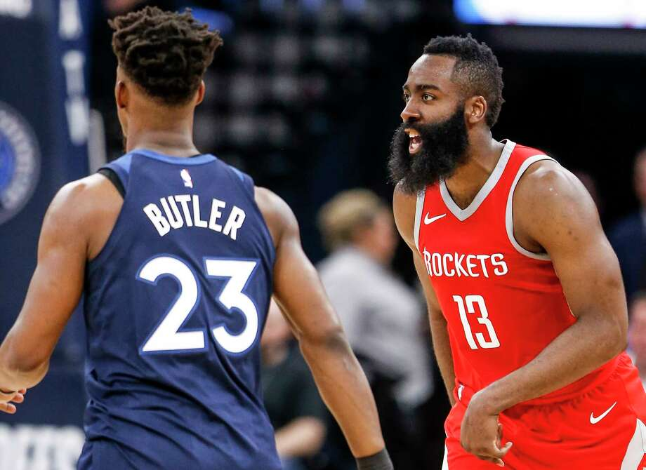 Houston Rockets guard James Harden runs back up court after hitting a shot against the Minnesota Timberwolves during the second half of Game 4 of the first round of the NBA Playoffs at Target Center Monday, April 23, 2018 in Minneapolis. Photo: Michael Ciaglo, Houston Chronicle / Michael Ciaglo