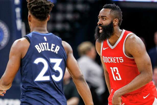 Houston Rockets guard James Harden runs back up court after hitting a shot against the Minnesota Timberwolves during the second half of Game 4 of the first round of the NBA Playoffs at Target Center Monday, April 23, 2018 in Minneapolis.