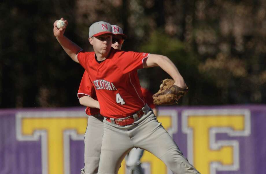 Ben Funyak of Niskayuna throws to first base for an out during the Ballston Spa and Niskayuna baseball game on Monday, April 23, 2018, in Ballston Spa, N.Y.  (Paul Buckowski/Times Union) Photo: PAUL BUCKOWSKI / (Paul Buckowski/Times Union)
