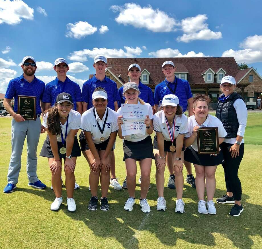 The Trinity boys and girls golf teams pose after they both won their respective TAPPS 4A North Regional Golf Tournament on Monday in Mansfield. Courtesy photo