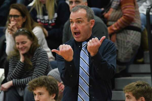 Lake George head coach Dave Jones signals to one of his players on the court during a game against Argyle on Friday, Jan. 12, 2017, in Lake George, N.Y. (Jenn March/Special to the Times Union)