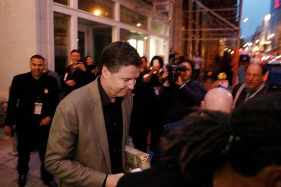 "Former FBI director James Comey appeared in San Francisco Monday night to promote his new book ""A Higher Loyalty: Truth, Lies, and Leadership,"" at the Curran Theater in San Francisco, Calif., on Monday, April 23, 2018."