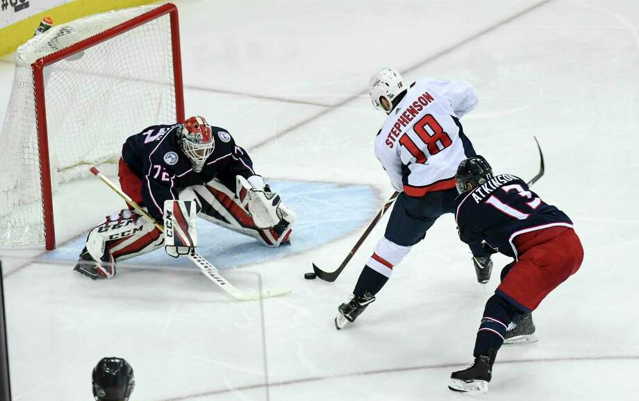 b86bac93c Chandler Stephenson scores against Columbus Blue Jackets goalie Sergei  Bobrovsky on Monday. Photo  Washington