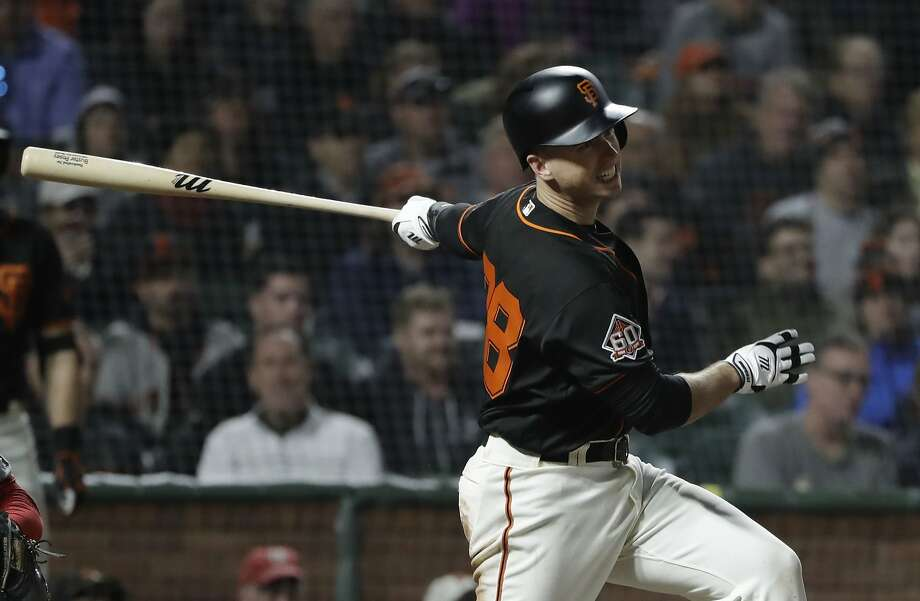 San Francisco Giants' Buster Posey drives in a run with a single against the Washington Nationals during the fifth inning of a baseball game, Monday, April 23, 2018, in San Francisco. (AP Photo/Marcio Jose Sanchez) Photo: Marcio Jose Sanchez / Associated Press