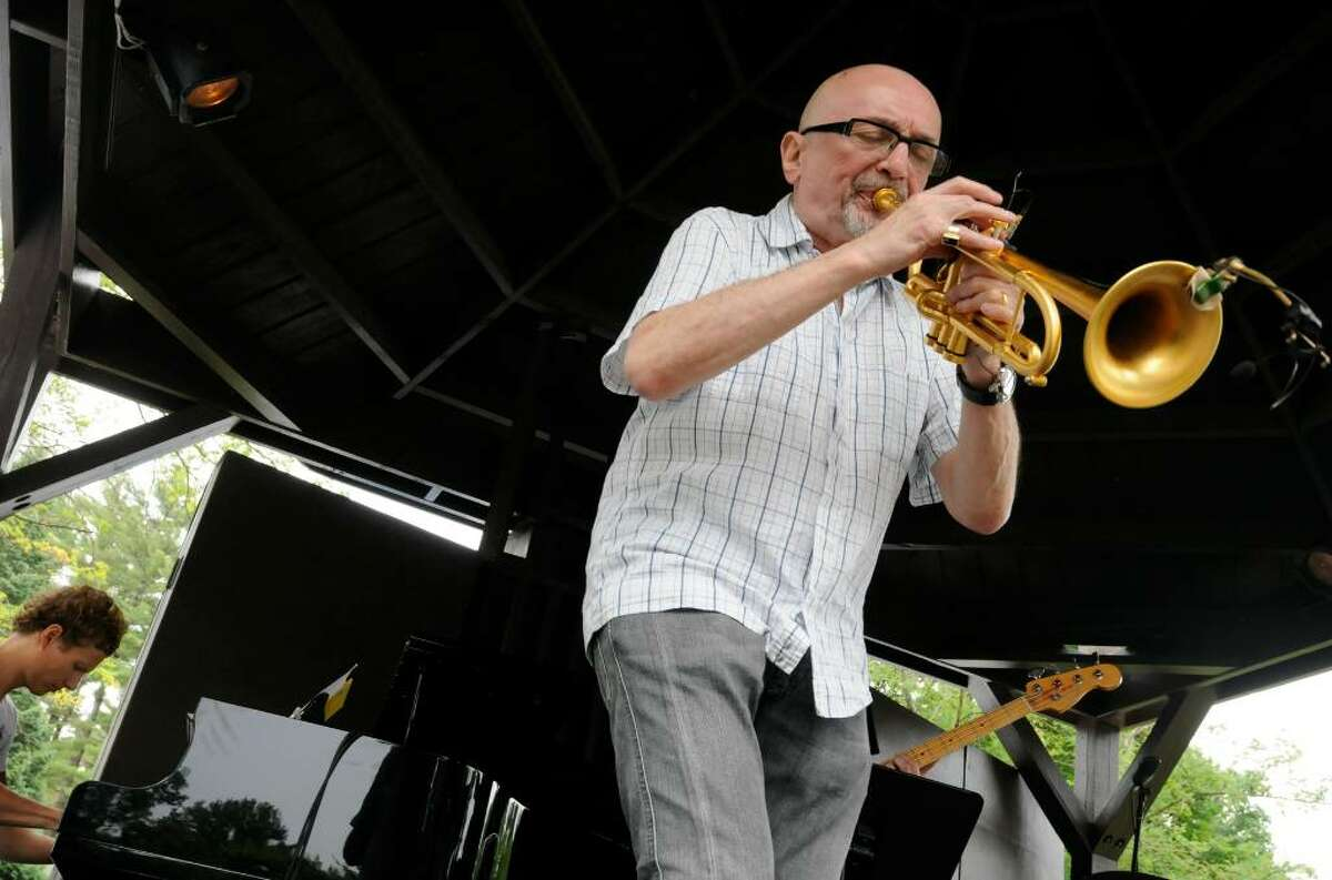 Jazz trumpeter Tomasz Stanko and his quartet perform on the gazebo stage during the Freihofer's Jazz Festival at SPAC in Saratoga Springs June 26, 2010. (Michael P. Farrell / Times Union)