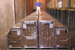 Inside one of the warehouses of the Strategic National Stockpile are containers of medical supplies ready for shipment in the event of a large-scale public health incident. These supplies can be sent out within 12 hours of a federal decision to deploy.