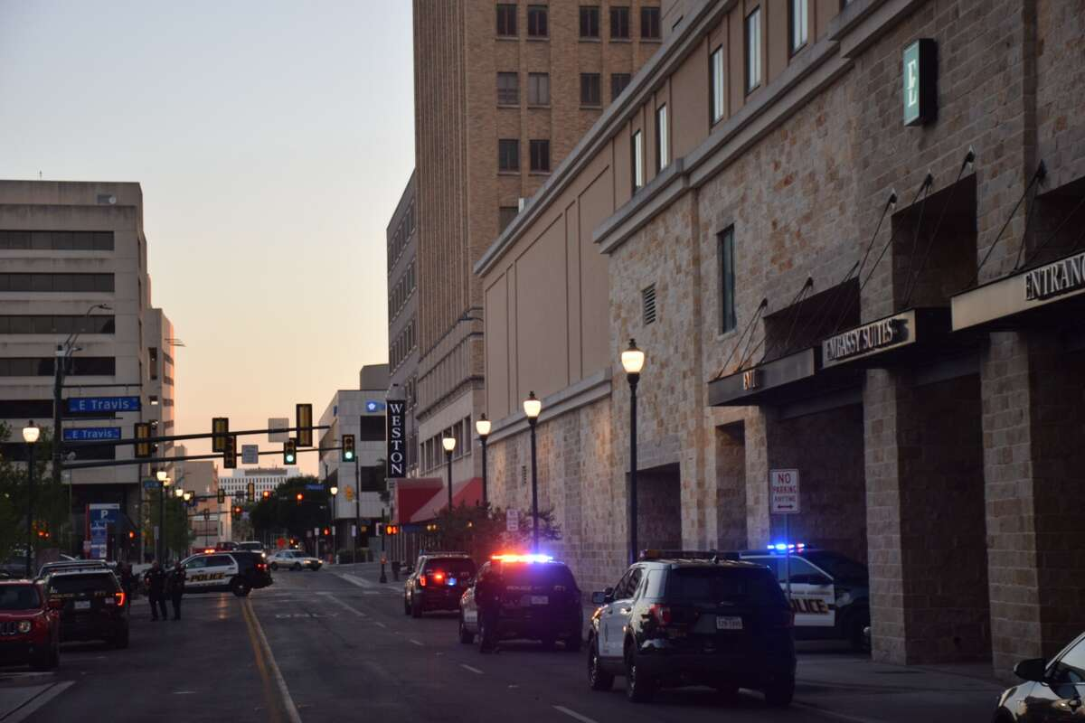 San Antonio police are at the scene of an officer-involved shooting at the Embassy Suites hotel in downtown on Tuesday, April 24, 2018.
