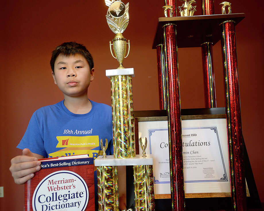 "Sallie Curtis Elementary fifth-grader Benjamin Chen will take his spelling prowess to Washington, D.C., in May to compete in the Scripps National Spelling Bee. He recently placed second in a tournament in Houston that allowed him to advance to the national event. While his favorite word is ""pulchritude,"" Benjamin has been working his way through a list of roughly 600 words in preparation for the competition, memorizing spellings and definitions.  Photo taken Friday, April 20, 2018 Kim Brent/The Enterprise Photo: Kim Brent / BEN"