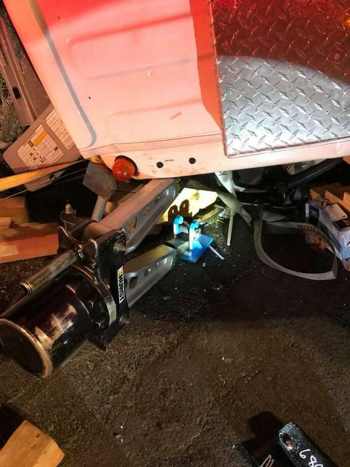 The driver of a box truck was pinned inside his vehicle after a two-vehicle crash on Route 34 in Derby on Tuesday, April 24, 2018. One person was killed and another injured in the accident. Photo: Storm Engine Co. /Ambulance Corps Photo.