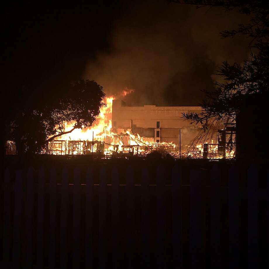 A major fire in Contra Costa County felled an apartment building that was under construction early Tuesday morning. Photo: Contra Costa County Fire Protection District