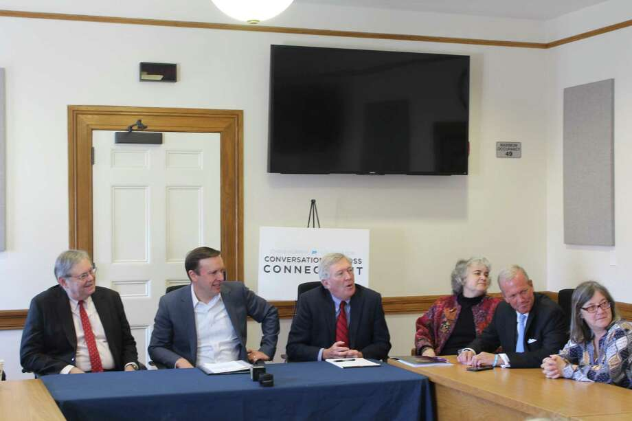 Sen. Chris Murphy (D) hosted a roundtable discussion at New Canaan Town Hall April 23. Photo: Humberto J. Rocha / Hearst Connecticut Media / New Canaan News