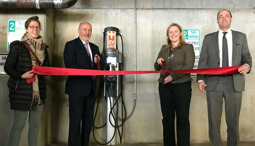 Troy installed its first electric vehicle charging station this week. The station is located in the 5th Avenue Parking Garage in downtown Troy.