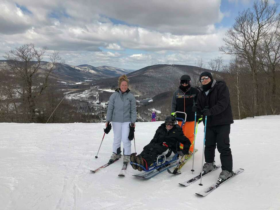 Nancy Ladd-Butz enjoys skiing with her daughter Kelsey and son Jeremy recently at Jiminy Peak through the STRIDE adaptive program.