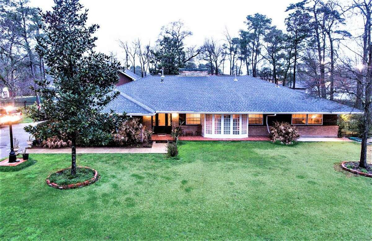 The view of the front of the home. The home sits on about 1.74 acres.
