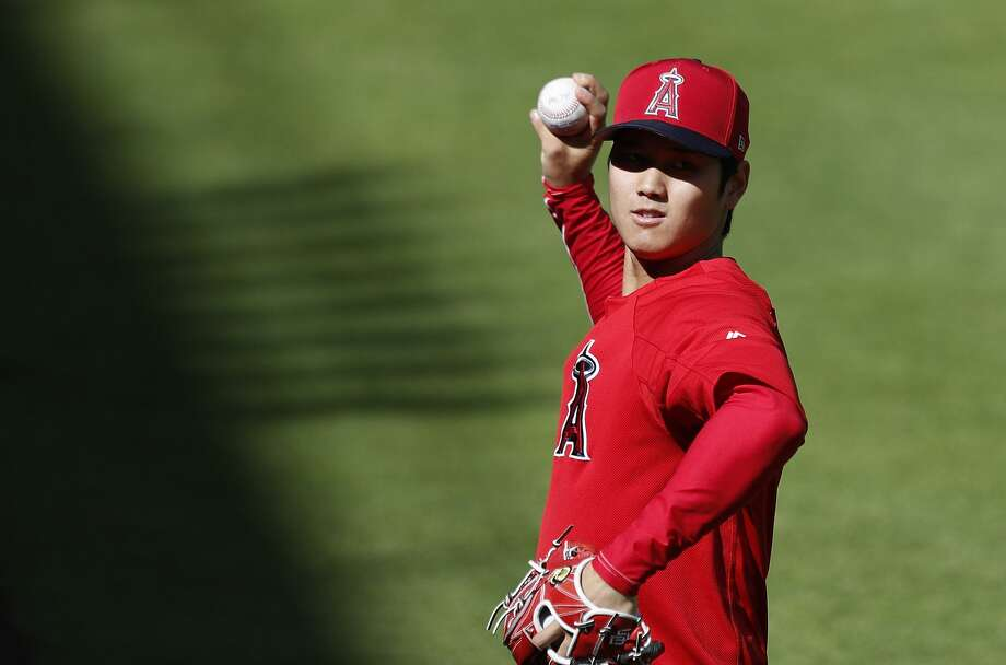 Los Angeles Angels Shohei Ohtani (17) tosses the ball during batting practice before the start of an MLB game at Minute Maid Park, Monday, April 23, 2018, in Houston. He is scheduled to pitch tomorrow night. ( Karen Warren  / Houston Chronicle ) Photo: Karen Warren/Houston Chronicle