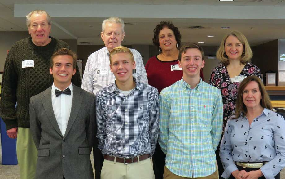 This year's three recipients of The Dirty Dozen Scholarship with Al Wentz, Jack McCurdy, and members