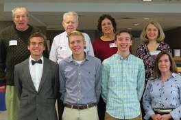 This year's three recipients of The Dirty Dozen Scholarship with Al Wentz, Jack McCurdy, and members of the Edwardsville Community Foundation.
