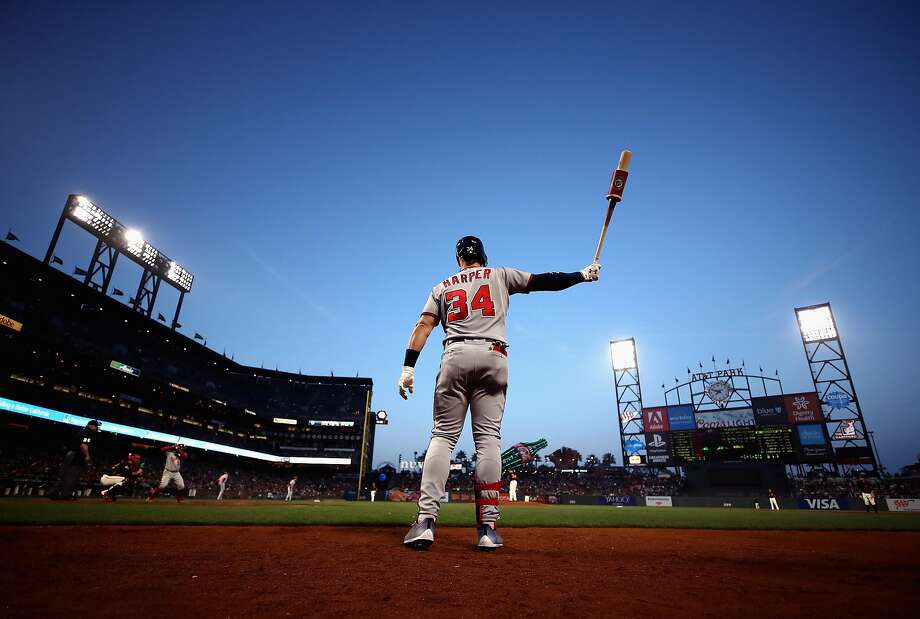SAN FRANCISCO, CA - APRIL 23:  Bryce Harper #34 of the Washington Nationals warms up on the on-deck circle before hitting in the third inning against the San Francisco Giants at AT&T Park on April 23, 2018 in San Francisco, California.  (Photo by Ezra Shaw/Getty Images) ***BESTPIX*** Photo: Ezra Shaw