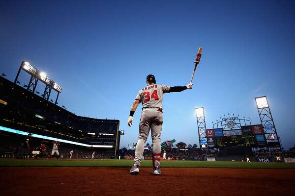 SAN FRANCISCO, CA - APRIL 23:  Bryce Harper #34 of the Washington Nationals warms up on the on-deck circle before hitting in the third inning against the San Francisco Giants at AT&T Park on April 23, 2018 in San Francisco, California.  (Photo by Ezra Shaw/Getty Images) ***BESTPIX***