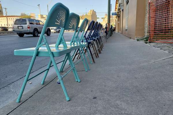 Chairs began to line the parade route along Broadway and 3rd Street early in the week ahead of the Battle of Flowers and Fiesta Flambeau parades on April 27, 2018.