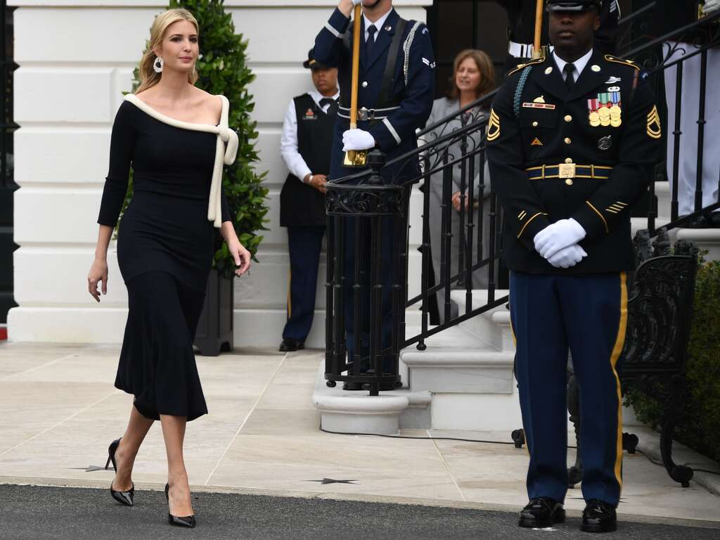 Senior Advisor to the President Ivanka Trump arrives for state welcome of  French President Emmanuel Macron