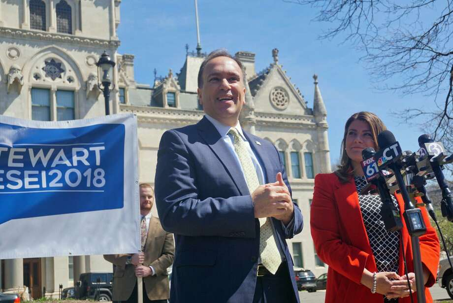 Greenwich First Selectman Peter Tesei will join the campaign of Republican gubernatorial candidate and New Britain Mayor Erin Stewart (right), the duo announced at the Capitol in Hartford, Conn. on Tuesday, April 24, 2018. Photo: Emilie Munson