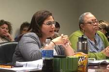 Bridgeport City Council budget co-chairs Maria Zambrano Viggiano and Denese Taylor-Moye listen to the city school district budget plan on Wednesday, April 18, 2018.