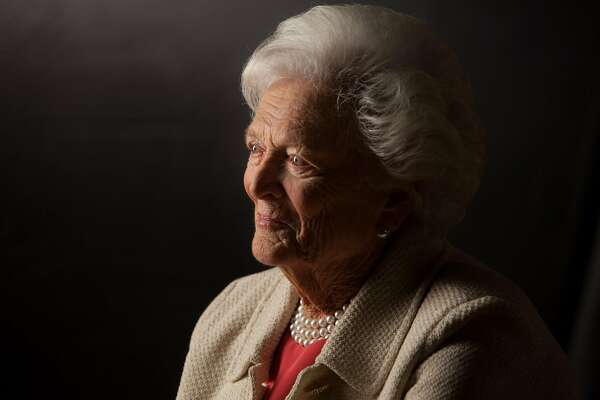COLLEGE STATION, TX -- OCTOBER 24: Former First Lady Barbara Bush is interviewed for 'The Presidents' Gatekeepers' project about the White House Chiefs of Staff at the Bush Library, October 24, 2011 in College Station, Texas. (Photo by David Hume Kennerly/Getty Images).