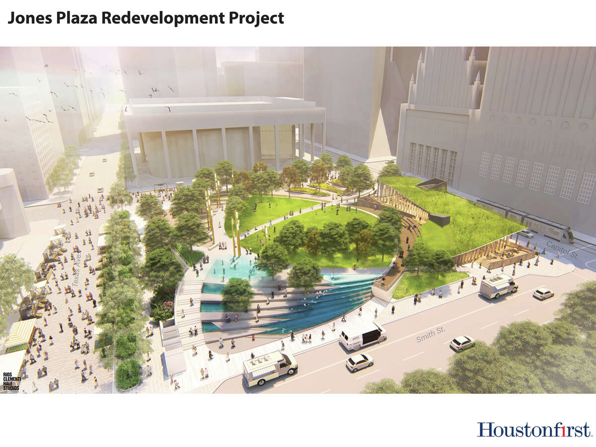 Renderings of what a transformed Jones Plaza will look like after a proposed renovation project were released at a press conference in 2018 at the plaza.