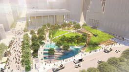 Newly-released renderings of what a transformed Jones Plaza will look like after a proposed renovation project were released at a press conference on Tuesday at the plaza.