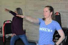 """Melanie Joseph, or """"Coach Mel"""" as her students know her, right, teaches a """"SilverSneaker"""" exercise class at her Harwinton studio."""