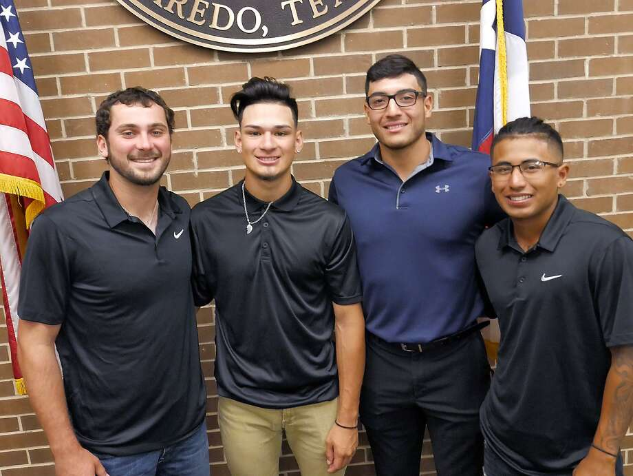 LCC's Dalton Horner, Isaiah Trevino, Arturo Guajardo and Angel De La Paz signed their letters of intent Monday to play at the Division I level. Guajardo is headed the University of Texas-San Antonio while Horner, Trevino and De La Paz will suit up for Prairie View A&M next spring. Photo: Cuate Santos /Laredo Morning Times / Laredo Morning Times