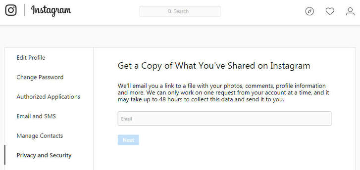 Instagram's new data download tool, accessed via its website.