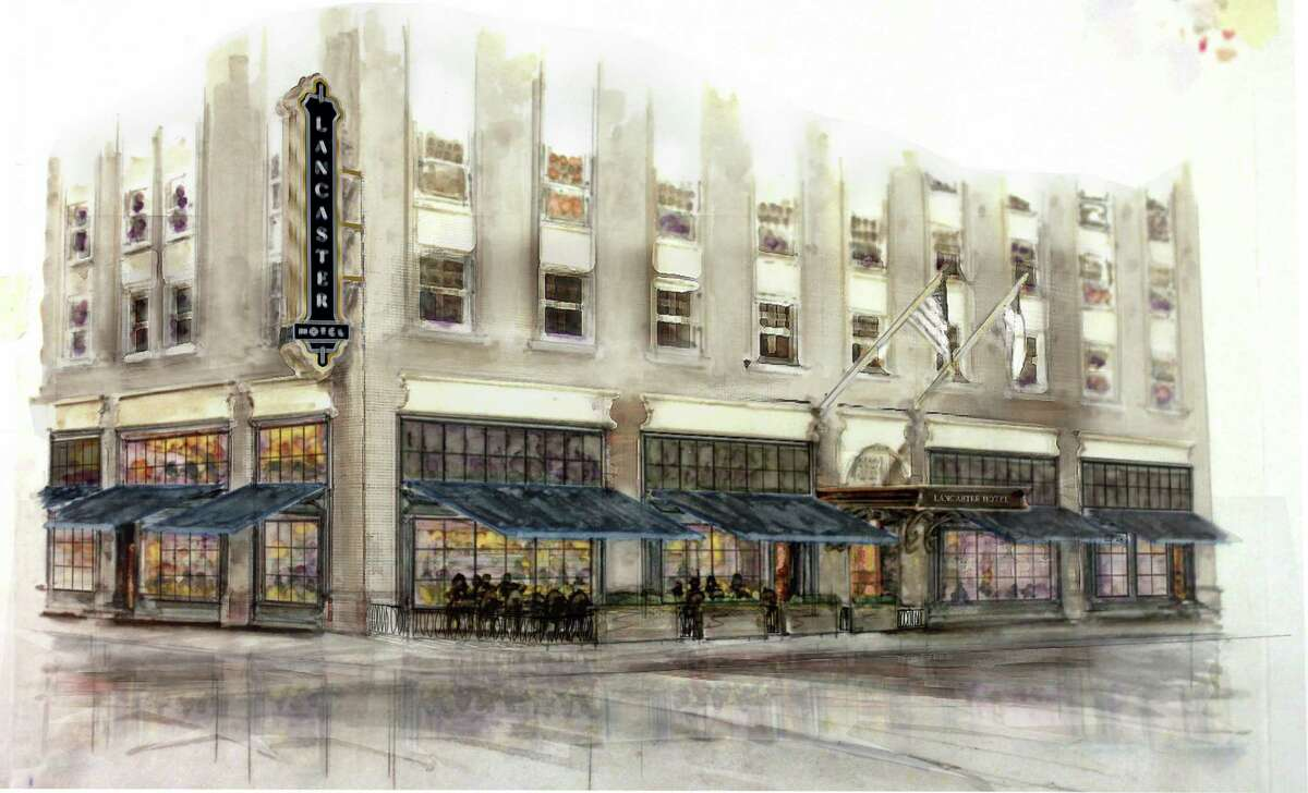 Artist renderings of the renovated Lancaster Hotel in downtown Houston. New owners purchased the hotel a month before Hurricane Harvey. It took on 17 feet of water that filled its basement and went into its lobby and destroyed all of its HVAC and electrical equipment. The hotel will reopen August 2018.