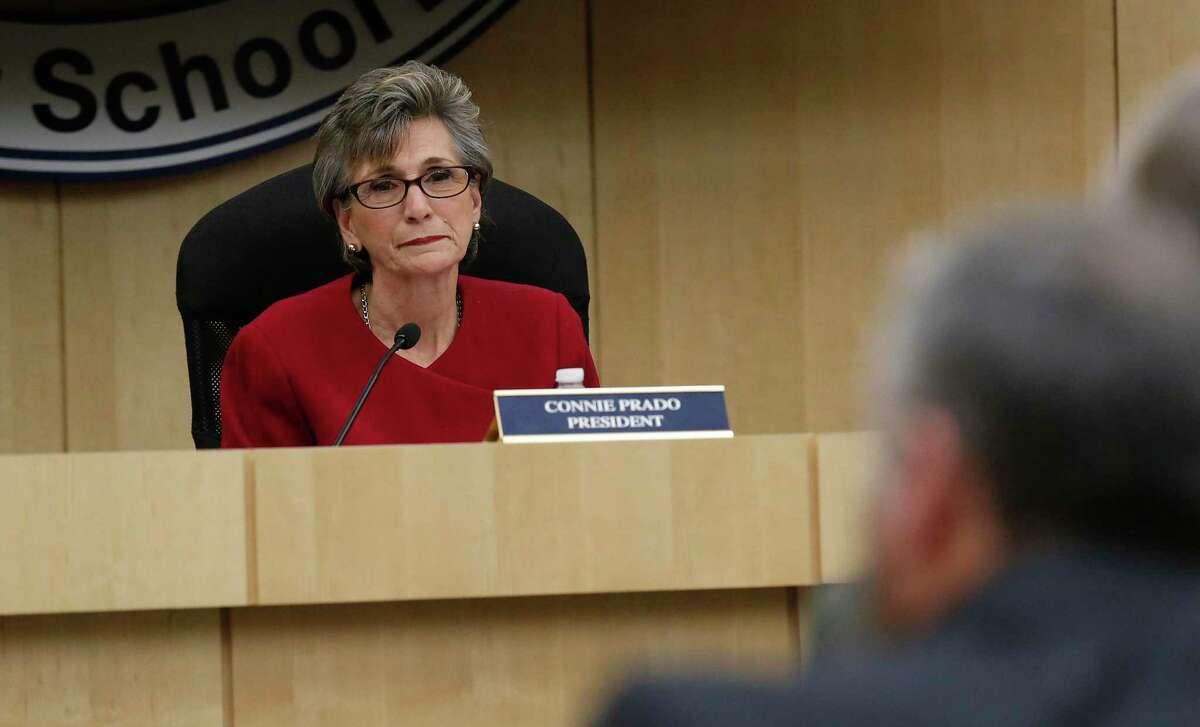 The South San ISD board president Connie Prado at a board meeting in 2016. (Kin Man Hui/San Antonio Express-News)
