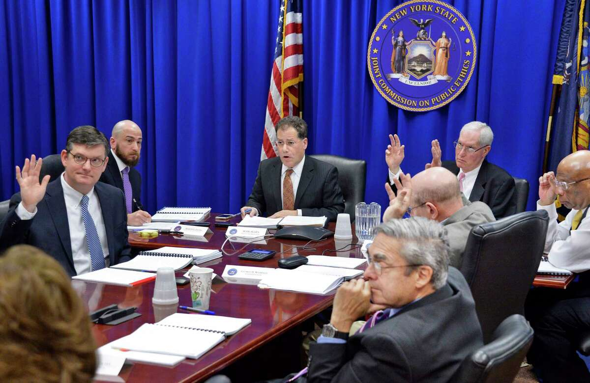 Executive director, Seth Agata, center, and members of the New York State Joint Commission on Public Ethics during a vote Tuesday April 24, 2018 in Albany, NY. (John Carl D'Annibale/Times Union)