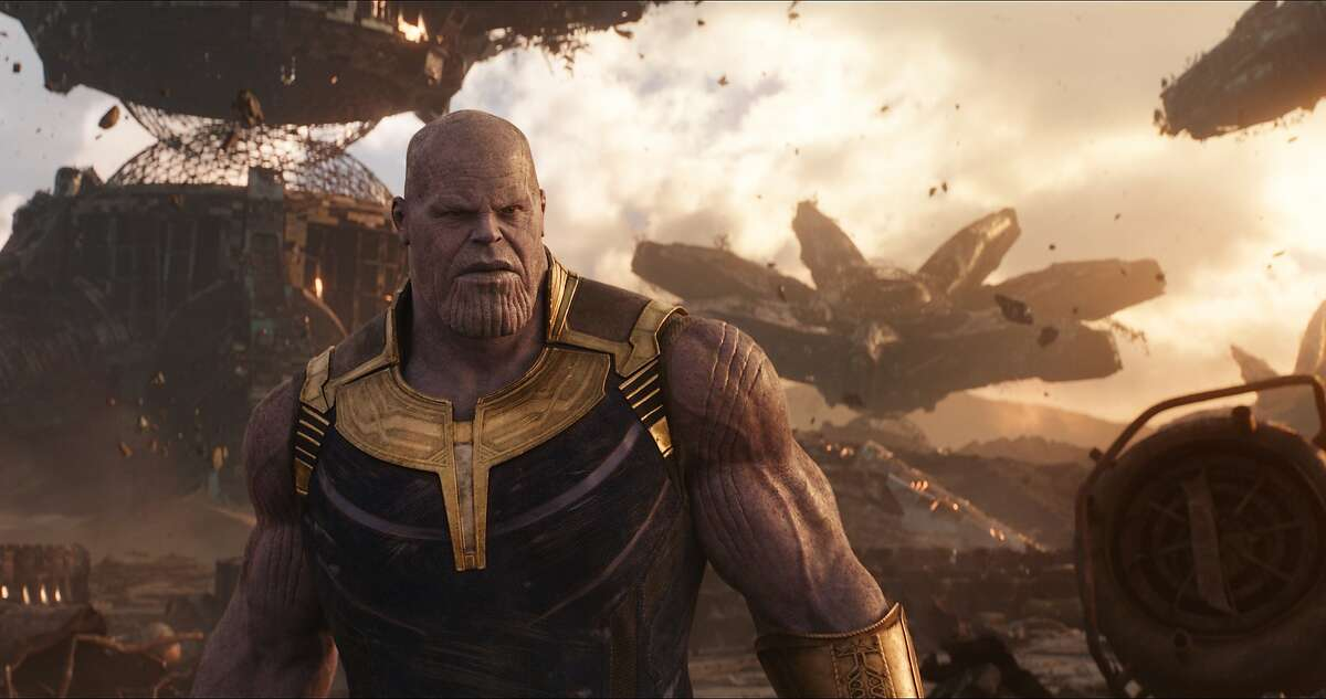 This image released by Disney shows Josh Brolin as Thanos in a scene from Marvel Studios'