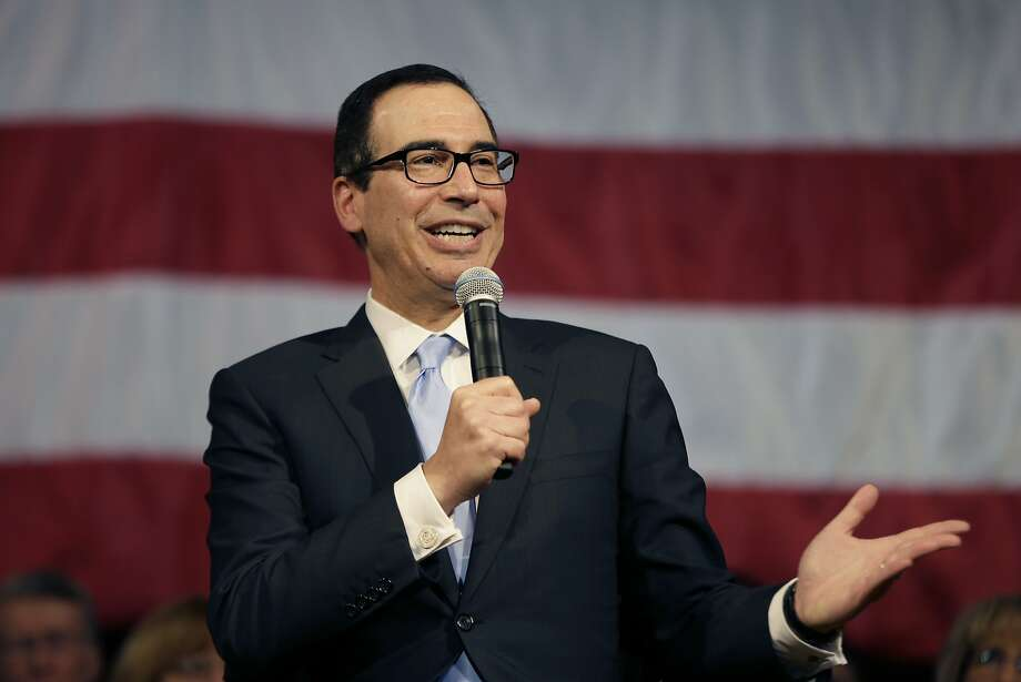 Treasury Secretary Steven Mnuchin speaks at an event on Tax Day, Tuesday, April 17, 2018, in Derry, N.H. to promote the recently passed tax cut package. (AP Photo/Elise Amendola) Photo: Elise Amendola / Associated Press