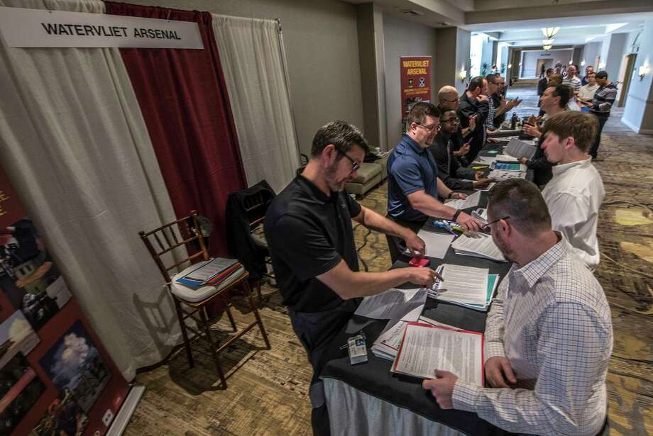 There was a large turnout at the Watervliet Arsenal booth at the Times Union Job Fair held at the Marriott on Wolf Road Tuesday April 24, 2018 in Colonie, N.Y.  (Skip Dickstein/Times Union) Photo: SKIP DICKSTEIN, Albany Times Union / 40043593A