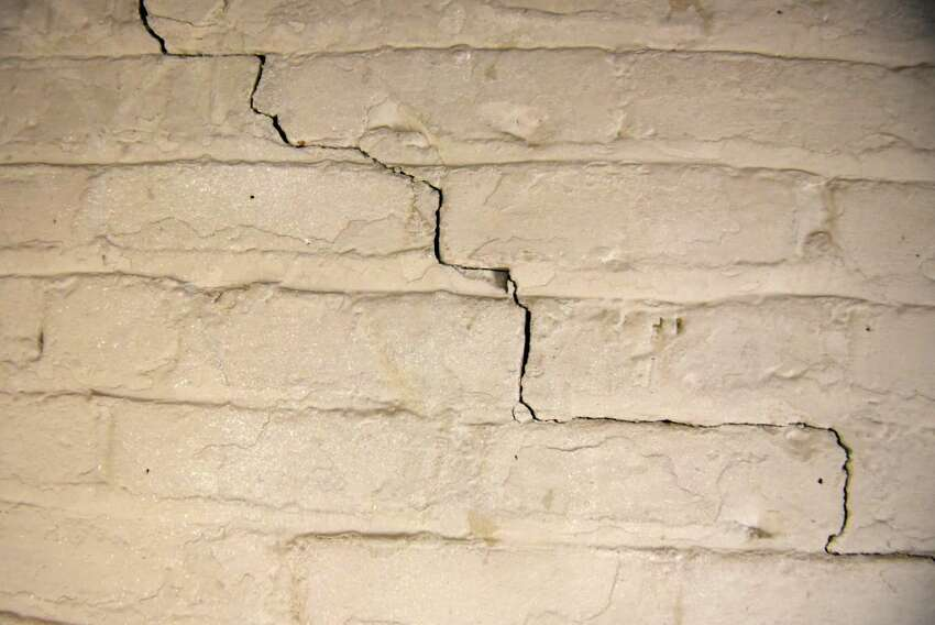 An interior basement wall crack is visible in the Greene County Jail on Tuesday, April 24, 2018, in Catskill, N.Y. Sheriff Gregory Seeley shut down his jail late last week, sending all of his prisoners to neighboring county jail because of the decaying state of the structure. The sheriff and Greene County are at odds over details of a new jail. (Will Waldron/Times Union)