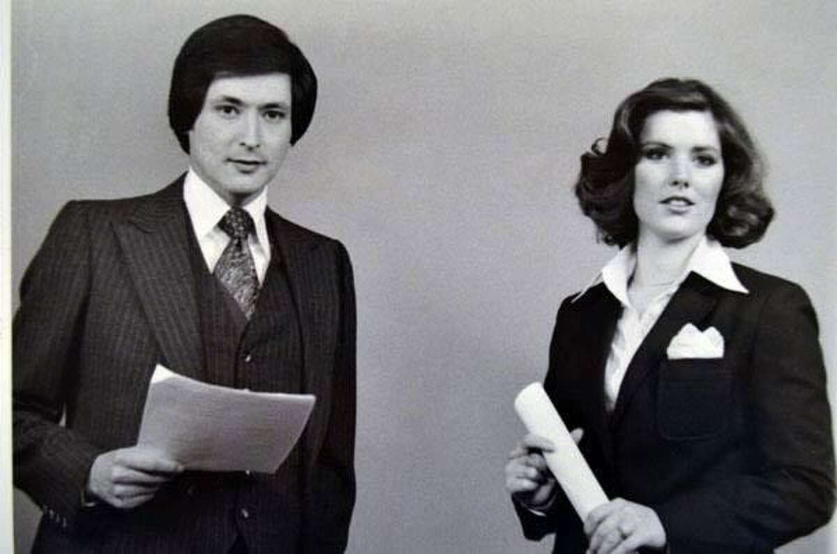 Deborah Knapp and Fred Lozano, her first co-anchor at KENS, are seen here in 1979 delivering the city's top-rated 5 p.m. news.