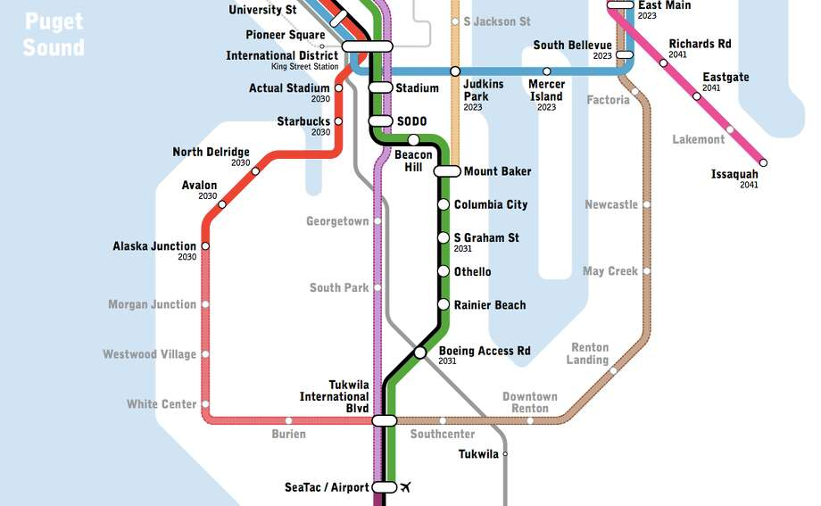 Seattle Link Rail Map New light rail map shows transit Seattle only dreams of