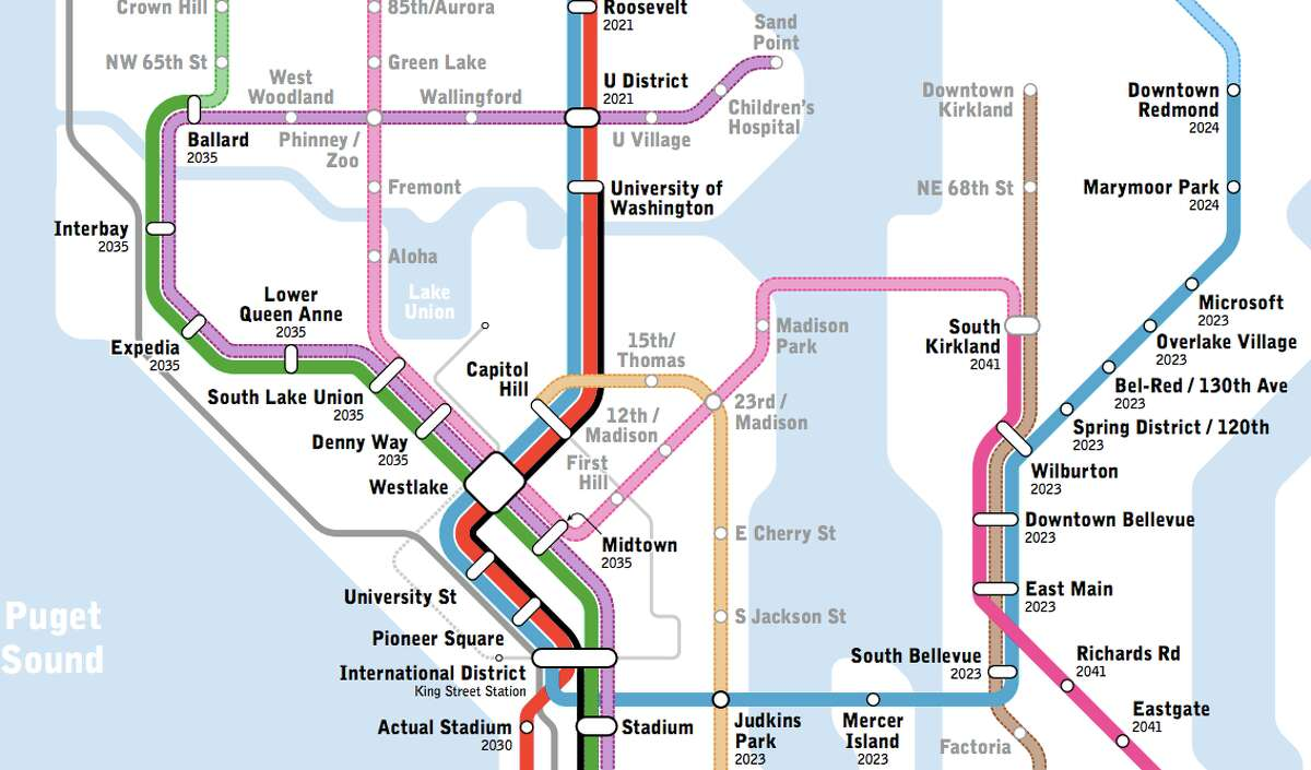 This section of the map highlights, among other things, the potential of what Seattle Subway is calling the pink line. As Sound Transit has already planned a new downtown transit tunnel, Seattle Subway is working to push for a tunnel location that would easily allow possible future expansion, including this pink line that would run up the Aurora Avenue corridor and to points east. The line would do well heading north along Aurora, where transit demand is expected to be high, but also run northeast to Madison Park before heading east across the state Route 520 bridge (already designed for a light rail line) and link up with the already planned pink line in south Kirkland. The idea would be a