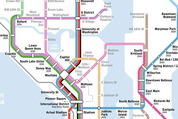 Seattle Subway map of potential light rail expansion.