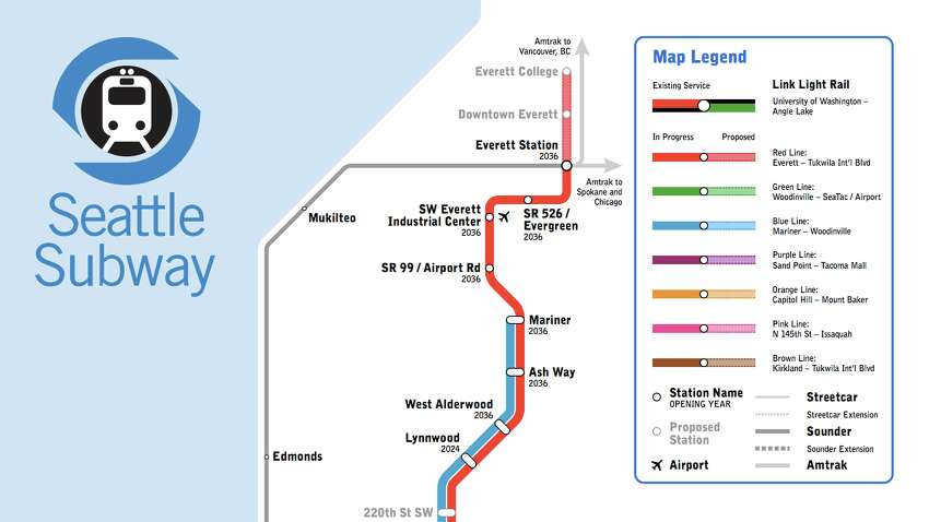 This part of the map shows a possible extension already under construction that will eventually reach Everett Station. The further extension would send the light rail line two more stops north to include downtown Everett and Everett College. Also, note the legend in this image, to differentiate from already planned/under construction to proposed expansions.