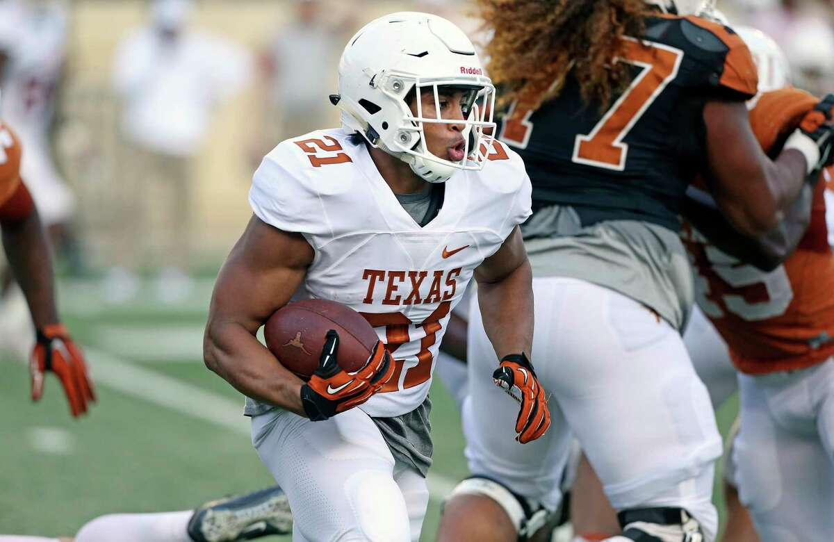 PHOTOS:Early look at Houston's top football recruits in Class of 2020 Kyle Porter runs to the right at the UT Orange-White Spring Game at DKR Stadium on April 21, 2018. >>>Browse through the photos for an early look at the top high school football recruits in the Houston area in the Class of 2020 ...