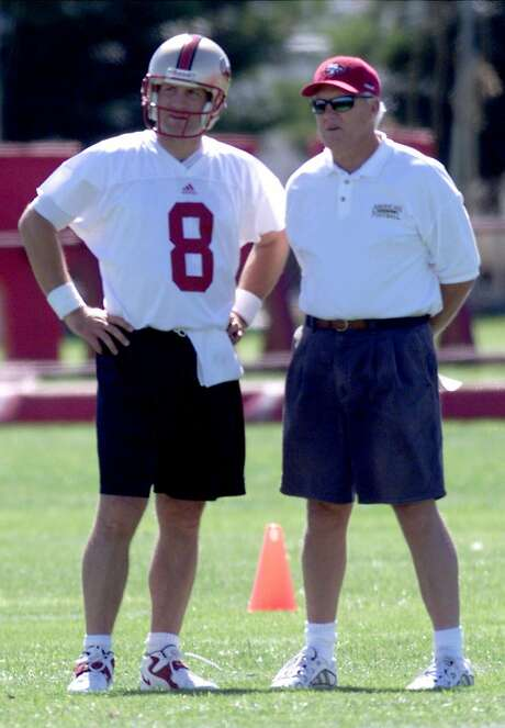 Bill Walsh immediately liked what he saw in Steve Young, but later admitted that he probably broke NFL rules to put Young through a workout before trading for him. Photo: Deanne Fitzmaurice / The Chronicle 1999