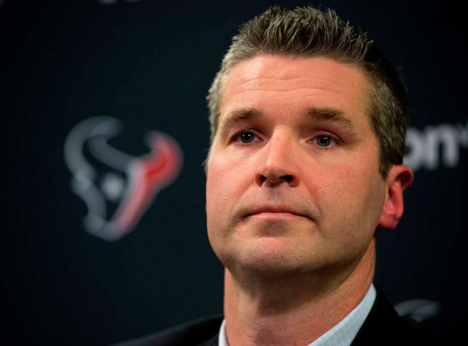 FILE - In this Jan. 17, 2018, file photo, Houston Texans general manager Brian Gaine answers questions during his introductory news conference at NRG Stadium in Houston. Gaine has quite a challenge as he prepares for his first draft with the team. The Texans don't have a first-round pick for the first time in franchise history. (Brett Coomer/Houston Chronicle via AP, File) Photo: Brett Coomer, MBO / © 2018 Houston Chronicle